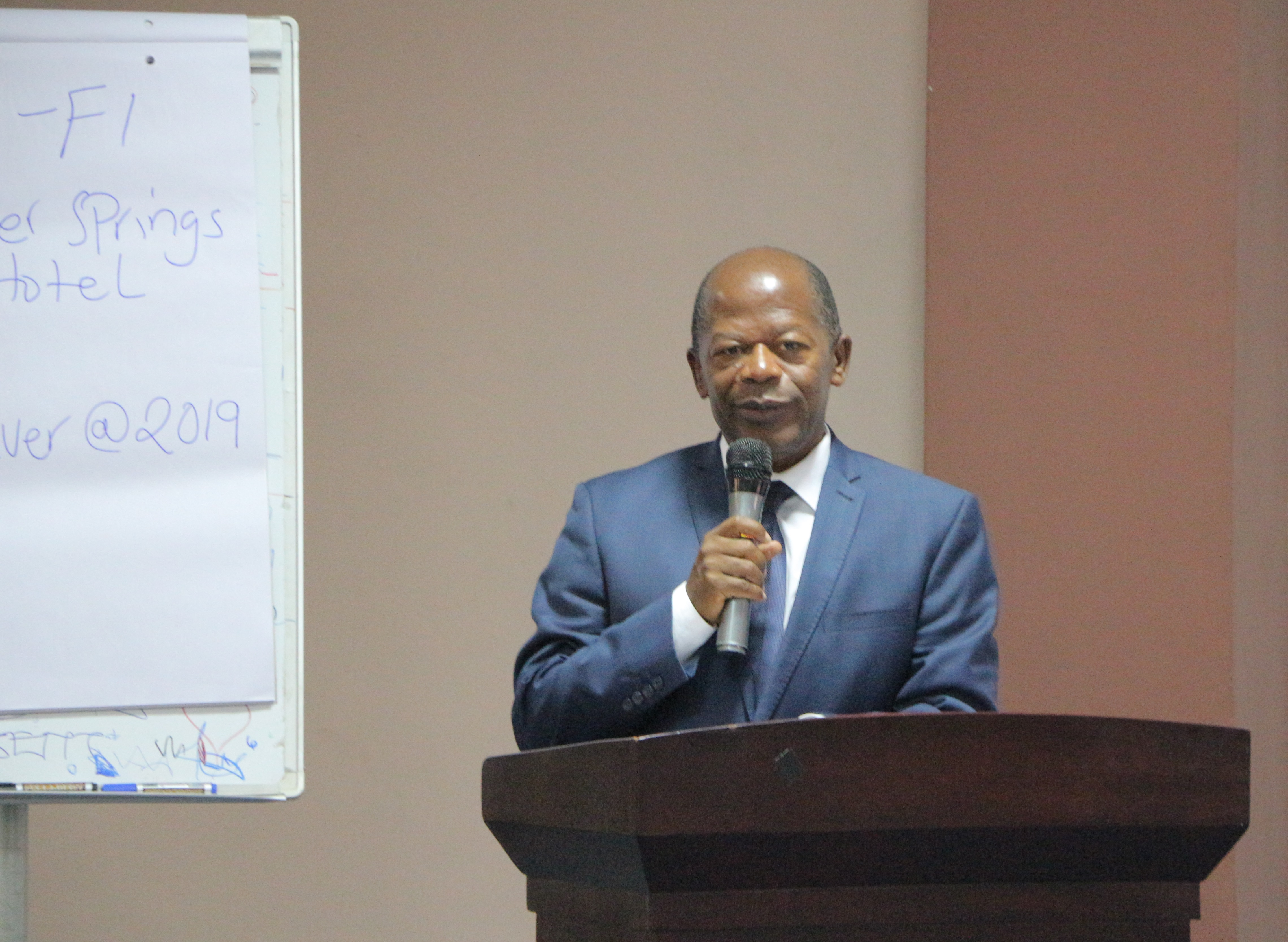 Hon. J.C Muyingo Officiating during the SP Launch