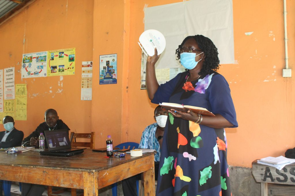 SG. UNATCOM Rosie Agoi delivers her remarks during the launch of the Digital Library Tool at Awere S.S Adjumani District